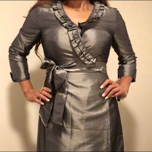 NWT Tahari Arthur S. Levine gray midi dress.
